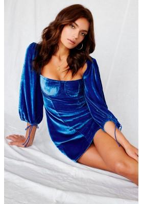 NADINE VELVET BUSTIE DRESS BLUE