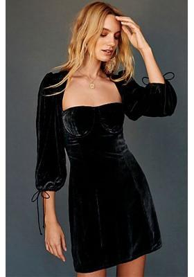 NADINE VELVET BUSTIE DRESS BLACK