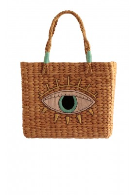 HAPPY EYE STRAW BEACH BAG
