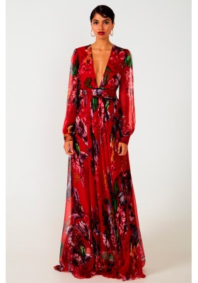 SILK MAXI DRESS HEIDI RED