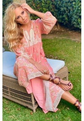 VESTIDO HENDRIX BOHO DRESS DUSTY PINK FETIHE SUANCES