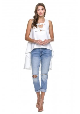TOP WITH FRONT RIBBON TIE DETAIL WHITE